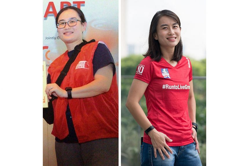 The difference a year makes for Great Eastern Women's Run participant Quek Qiu Hui, before and after losing 17kg to tip the scales at 62kg.