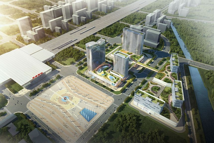 Artist's impression of the new Tianjin South HSR integrated development which Perennial is developing through a joint venture.