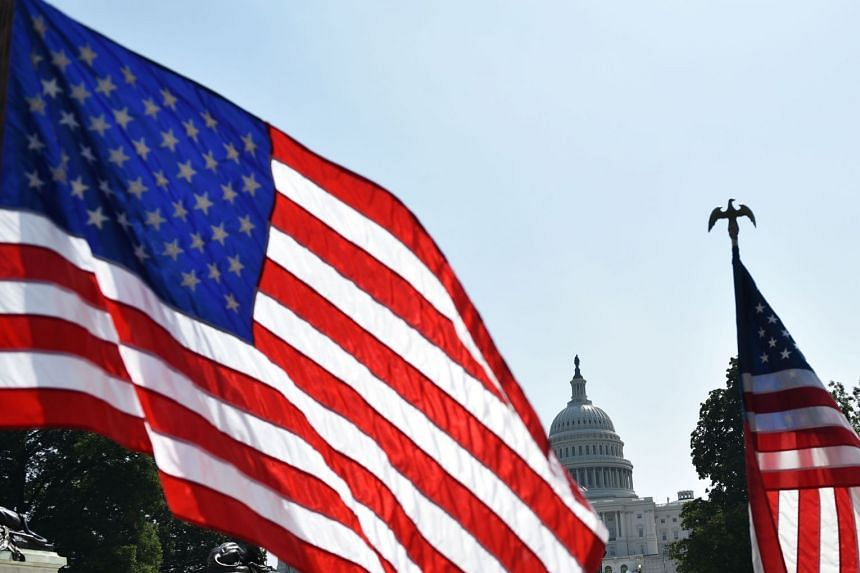 US flags are seen near the Mall in front of the US Capitol in Washington, DC.