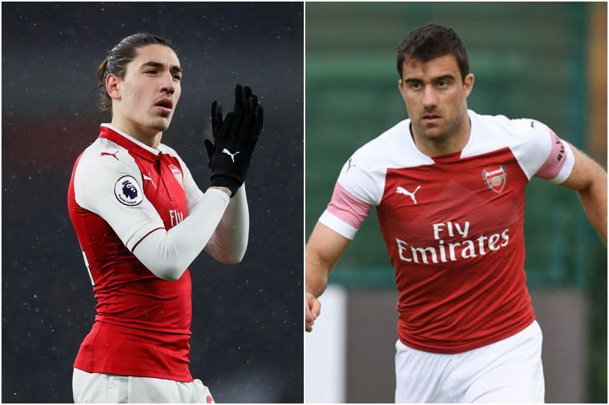 Arsenal players Hector Bellerin and Sokratis Papastathopoulos. Both are in Singapore for the team's third kit launch at the Esplanade on July 27, 2018.
