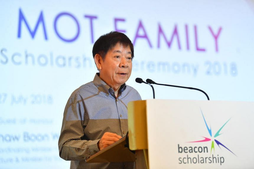 Transport Minister Khaw Boon Wan delivers a speech to Beacon Scholarship recipients at the Conrad Centennial on July 27, 2018.