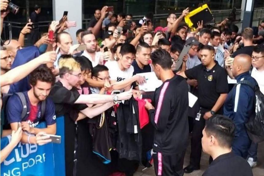 Paris St-Germain players Adrien Rabiot, Timothy Weah, Julian Draxler and Christopher Nkunku meeting fans in Singapore on July 27, 2018.