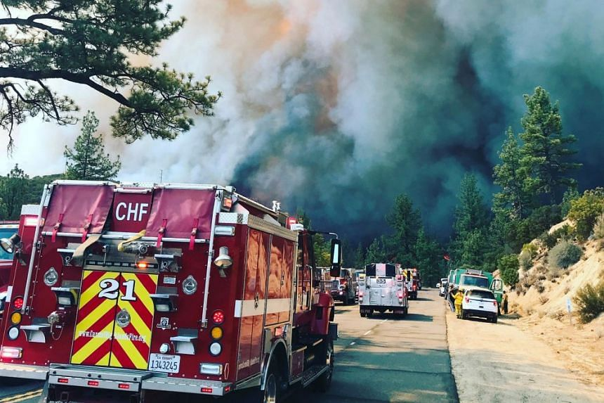 Firefighters move in to fight smoke caused by the Cranston Fire near Idyllwild, San Bernardino County, California.
