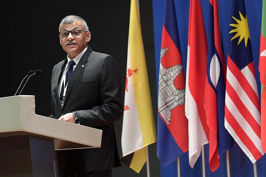 Singapore Chief Justice Sundaresh Menon speaking at the launch of The Asean Judiciaries Portal, which allows information on Asean judicial and legal systems to be easily accessed. It is aimed at leading to improved knowledge on the application of the