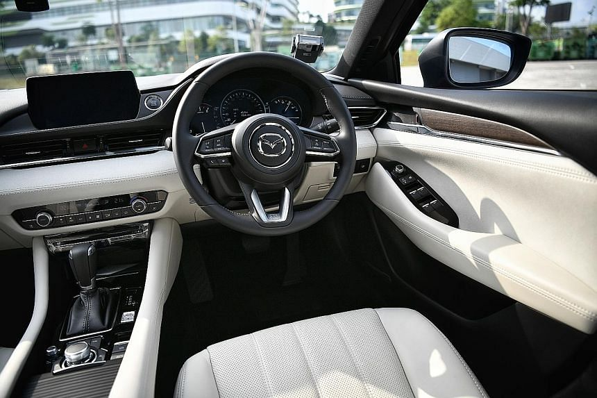 The Mazda 6 has new features, such as a 360-degree camera system, LCD instrumentation and an eight-inch infotainment touchscreen with easy functionality.