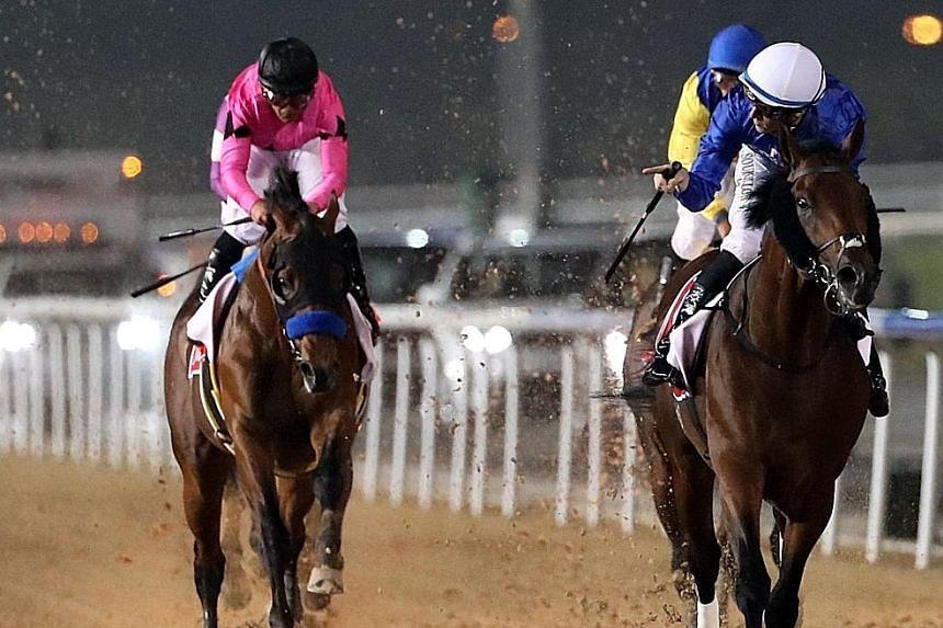 Jockey Christophe Soumillon (in white cap) steering Thunder Snow to win the 2018 Dubai World Cup race at Meydan Racecourse on March 31. The race was then worth US$10 million (S$13.6 million).