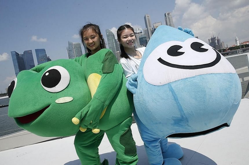 Wushu coach Jennie Toh will be Captain Green (clean and green lifestyle) and student Xena Kan will play Water Wally (water conservation). These are two of the returning mascots at the National Day Parade.