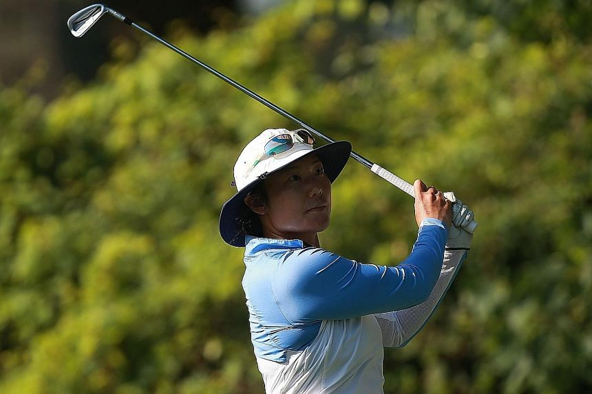 Tiffany Joh watching her tee shot during the Marathon Classic on July 12.