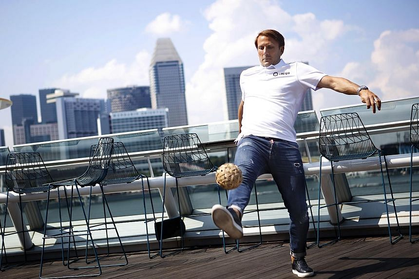 Gaizka Mendieta, trying out sepak takraw, is in Singapore for a two-day visit as an ambassador for LaLiga.