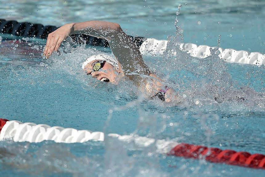 Missy Franklin racing in her 200m freestyle heat at the US Swimming Championships on Thursday. The five-gold Olympian failed to qualify for the Pan Pacific Championships next month as well as next year's World Championships.