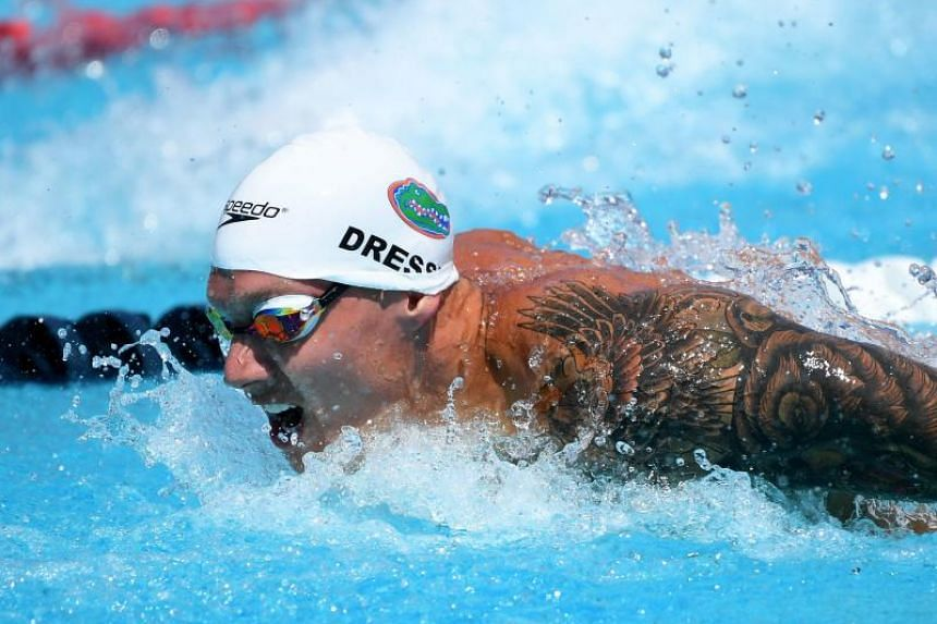 Caeleb Dressel swims in the Men 100 LC Metre Butterfly Prelims at the Woollett Aquatics Center on July 27, 2018 in Irvine, California.