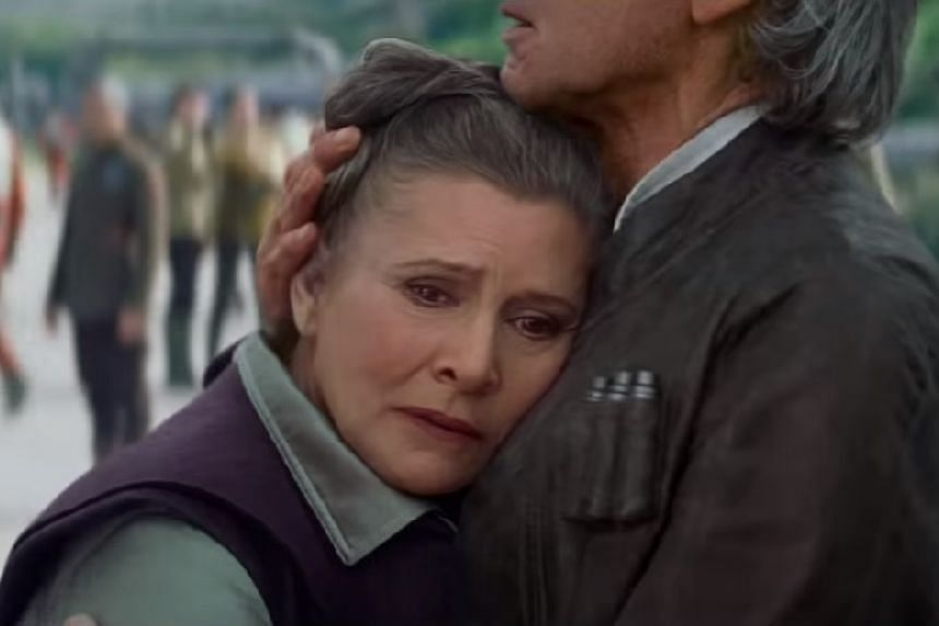 Late actress Carrie Fisher with Harrison Ford in Star Wars: The Force Awakens.