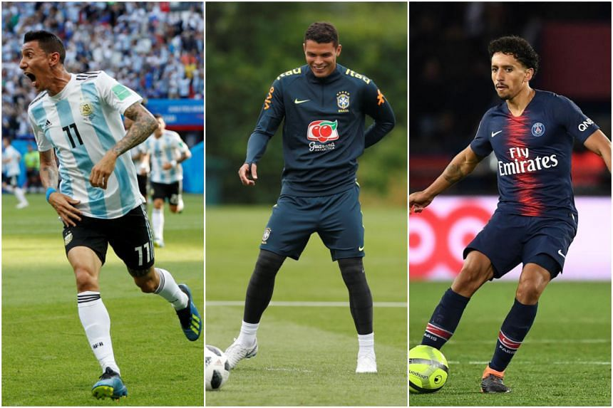 (From left) Argentinian Angel di Maria and Brazilians Thiago Silva and Marquinhos will arrive in Singapore on July 29, 30 and 31, respectively.