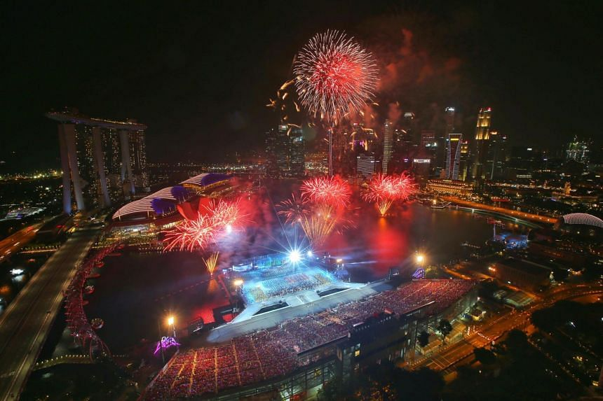 The finale fireworks for the first preview of the National Day Parade, on July 28, 2018.