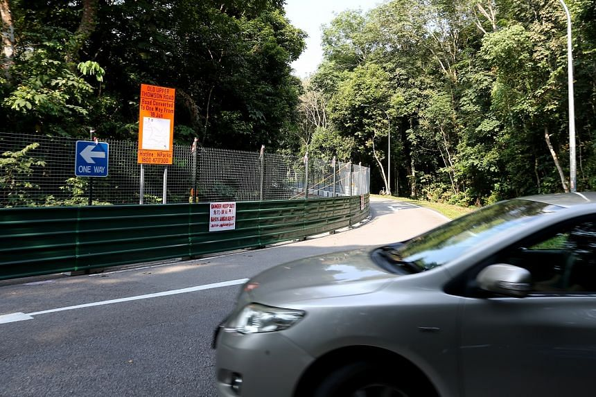 Signs have been put up to inform motorists that the Old Upper Thomson Road will be converted into a one-way street to accommodate a new park connector.
