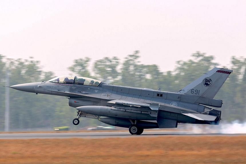 A Singapore Air Force F-16 arriving ahead of Exercise Pitch Black 2018 at the Royal Australian Air Force Base in Darwin, Australia, on July 26, 2018.
