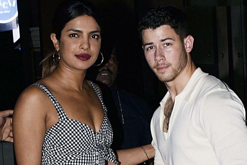 Bollywood actress Priyanka Chopra (left) and US singer Nick Jonas seen together in Mumbai, on June 22, 2018.
