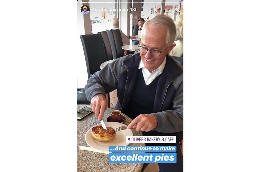 A short video of Australian PM Turnbull brandishing a knife and fork as he dug into a savoury meat pie was uploaded to his Instagram account.