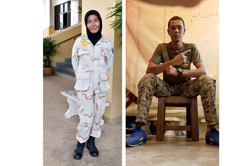 Ms Rahayu Merah, who guards Narathiwat's city hall, used to be a seamstress. Mr Abusahed Nor, who belongs to a special task force in the Volunteer Defence Corps, sleeps with a gun under his pillow.