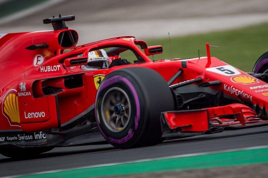 Vettel of Scuderia Ferrari in action during the qualifying session.