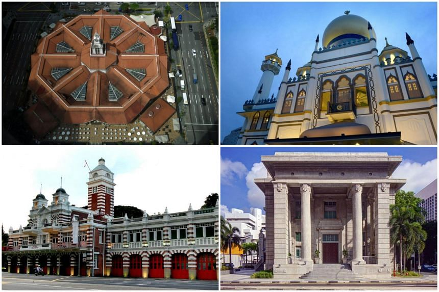 (Clockwise from top left) Lau Pa Sat, Sultan Mosque, Family Justice Courts and Central Fire Station.