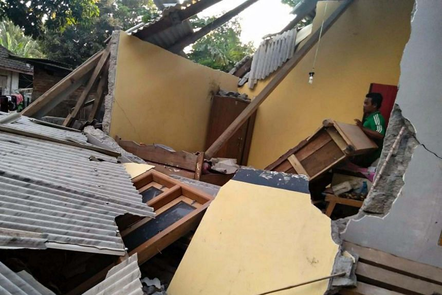 Collapsed ruins of a house following an earthquake in Lombok, on July 29, 2018.