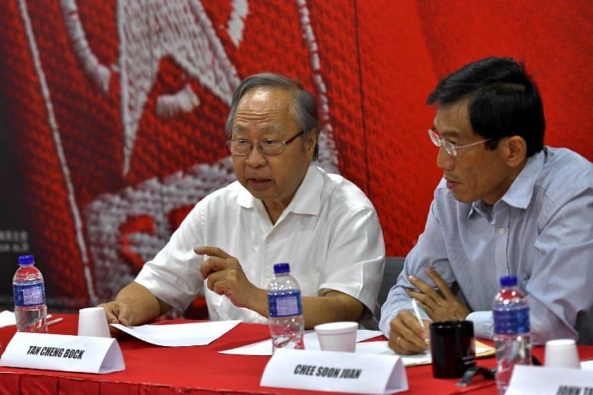 SDP Secretary-General Chee Soon Juan (right) proposed Dr Tan Cheng Bock lead the coalition, given his experience and leadership.