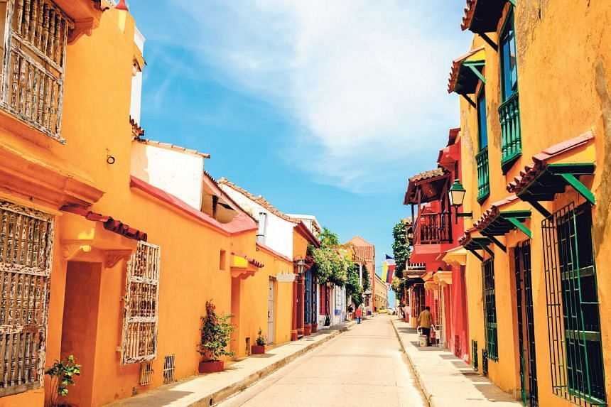 Colourful street in Cartagena Old Town.