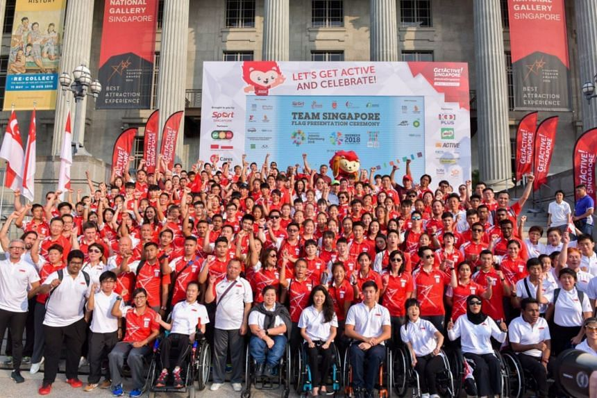 Team Singapore at the Asian Games and Asian Para Games flag presentation ceremony at the Padang, on 29 July 2018.