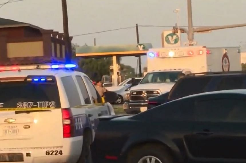 A screenshot from a news report of the scene of the shooting.