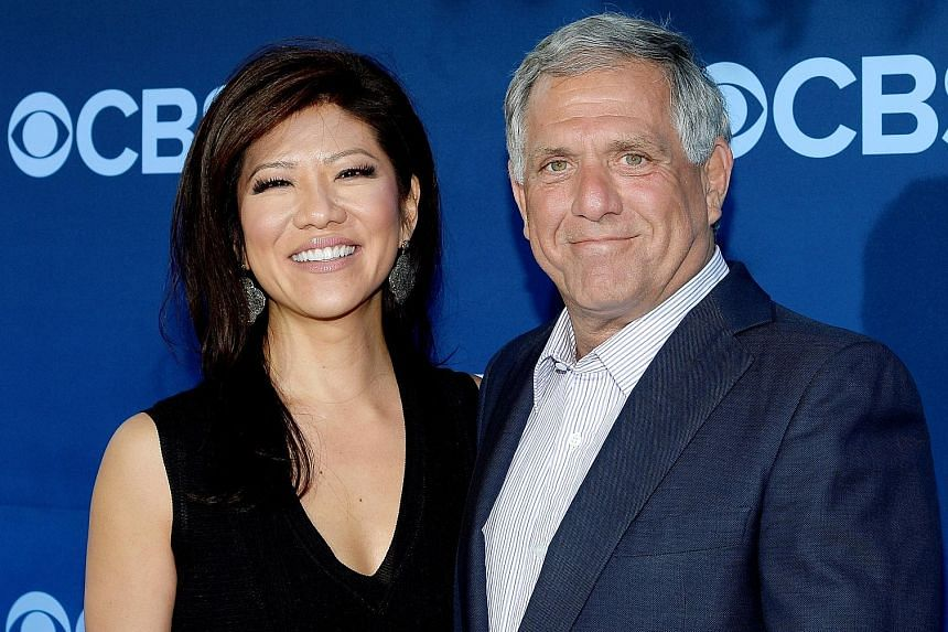 Leslie Moonves married Julie Chen (both left) in 2004, when she was co-host of CBS' Early Show.