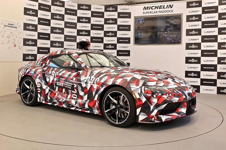 The Toyota Supra prototype displayed in Toyota Gazoo Racing livery. The sports car will be Schooling's by the end of next year.