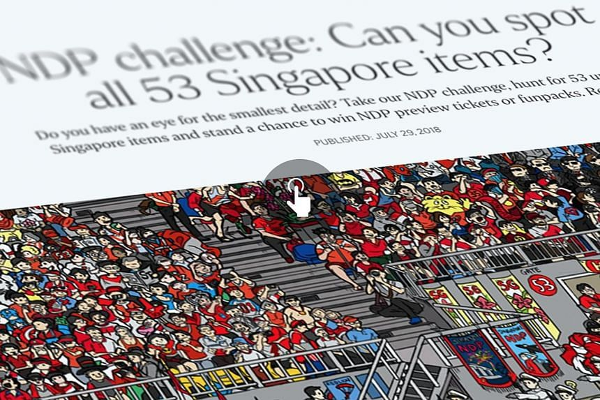 The 53 items in the online game are hidden in an illustration of a packed crowd watching the National Day Parade.
