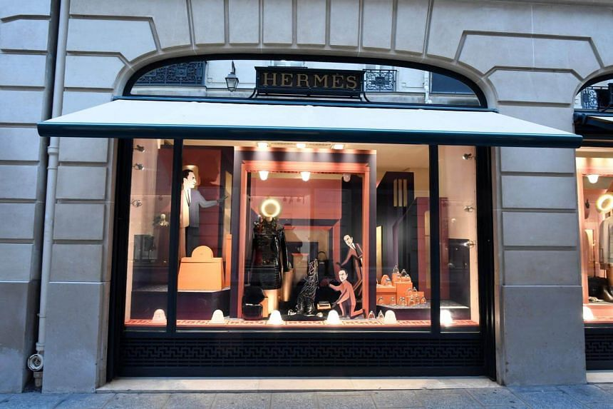 File photo taken on Dec 20, 2017, showing a window display of French fashion luxury goods retailer Hermes in Paris.