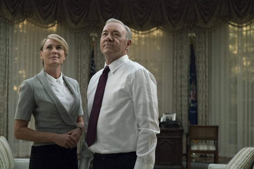The acclaimed Netflix show House Of Cards debuted in 2013 with Kevin Spacey (right) as conniving politician Frank Underwood and Robin Wright as his devious wife, Claire.
