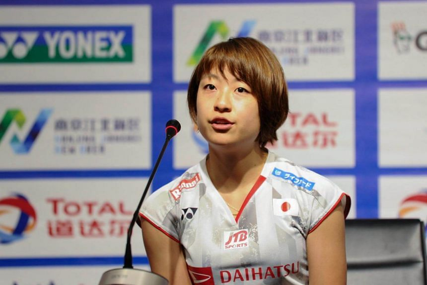 Badminton player Okuhara Nozomi of Japan attending a press conference at the the 2018 Badminton World Federation World Championships in Nanjing, China, on July 28, 2018.