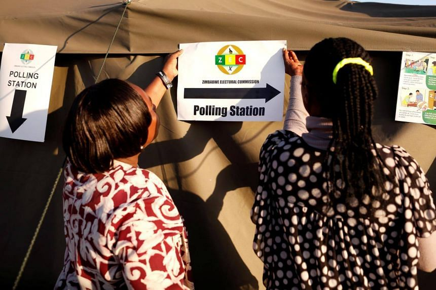 Officials preparing polling stations in Harare, Zimbabwe, ahead of the first election since the removal of Robert Mugabe, in which they hope will rid the country of its global pariah status.