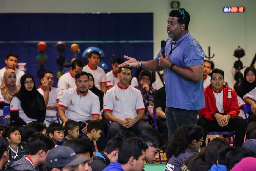 Singapore Silat Federation chief executive officer Sheik Alau'ddin addressing over 300 parents and young athletes at a sharing session on how to bring more success to the sport at the OCBC Arena on Nov 1, 2017.