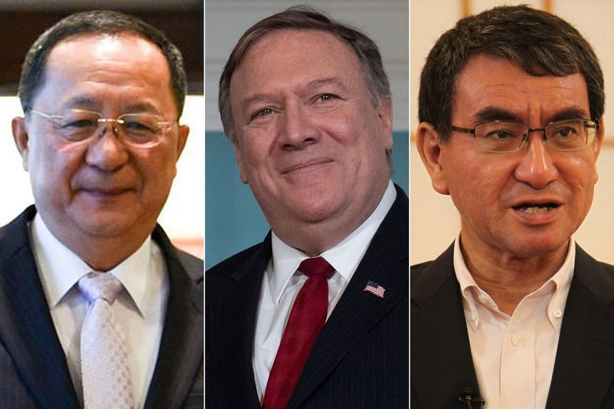 Among the officials who will be in Singapore this week are (from left) North Korean Foreign Minister Ri Yong Ho, US Secretary of State Mike Pompeo and Japanese Foreign Minister Taro Kono.