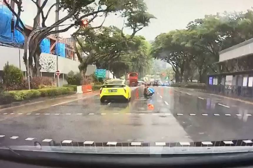 Dashcam footage uploaded online showed the cabby running the red light before colliding with the pedestrian.