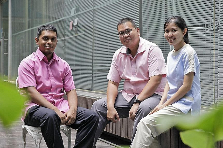 From left: Nurses from the community care sector Mirza Abdul Halim, 28, Casey Wong, 44, and Madeleine Lam, 30, have different stories as to how they came to work in the healthcare sector, but they share a firm commitment to service.