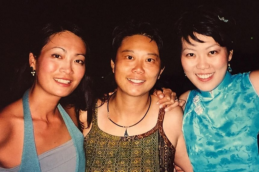 Charmaine Chan (right) wrote The Magic Circle to remember her late sister Elaine (left), who died from a rare, aggressive cancer in 2006. With them is their eldest sister Lorraine (centre).