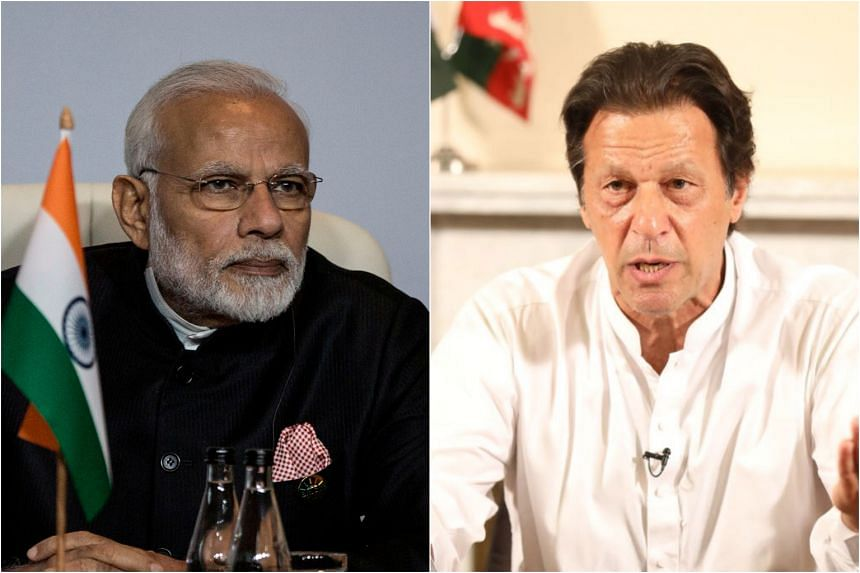 Indian Prime Minister Narendra Modi (left) congratulated Imran Khan on his party's victory in the Pakistan general election.