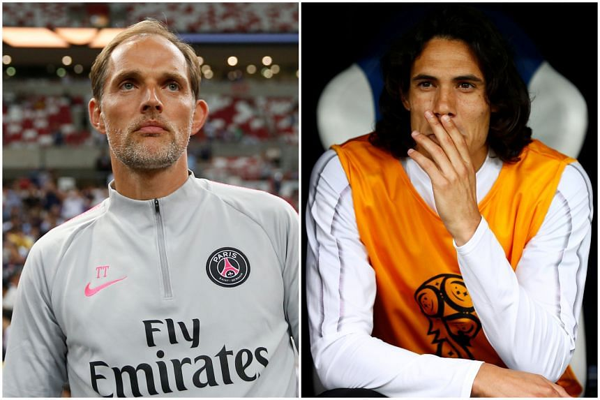 Thomas Tuchel (left) wishes for Edinson Cavani to stay in Paris Saint-Germain, believing that the latter is a key player in the team.