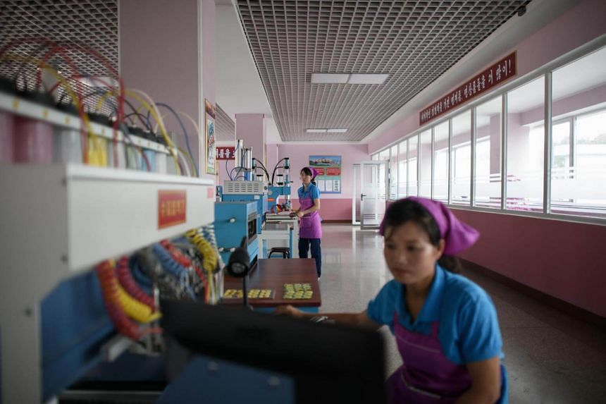 File photo taken on June 12, 2018, showing employees working at a show factory in Pyongyang, North Korea.