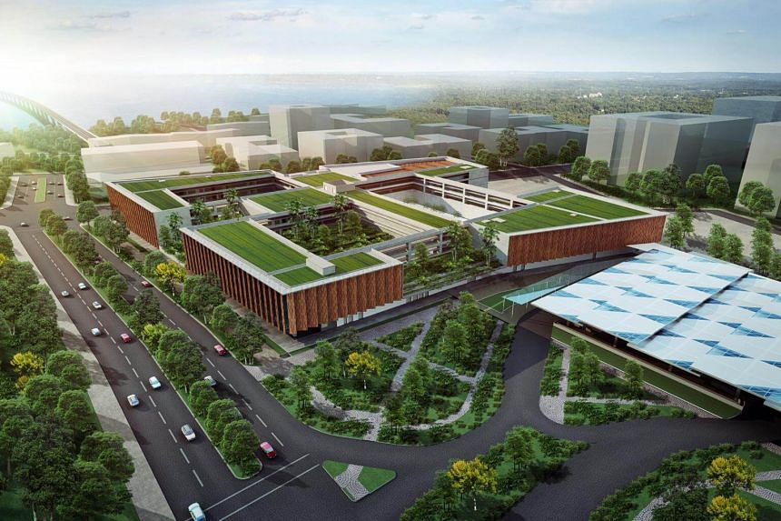 An artist's impression of the Woodlands North Station for the Rapid Transit System Link, which will be a 4km line that connects to the Bukit Chagar station in Johor Baru.