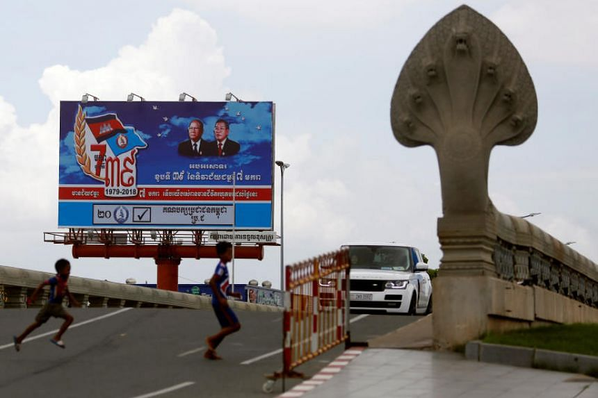 A poster of the Cambodian People's Party is seen at Koh Pich island in Phnom Penh on July 31, 2018.