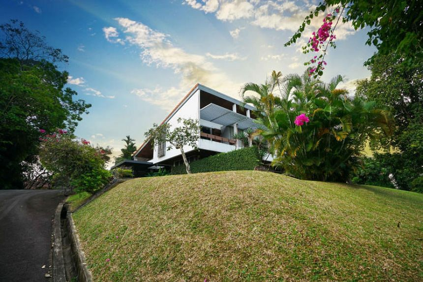 The two-storey bungalow sits on elevated ground at 81 Dalvey Road.