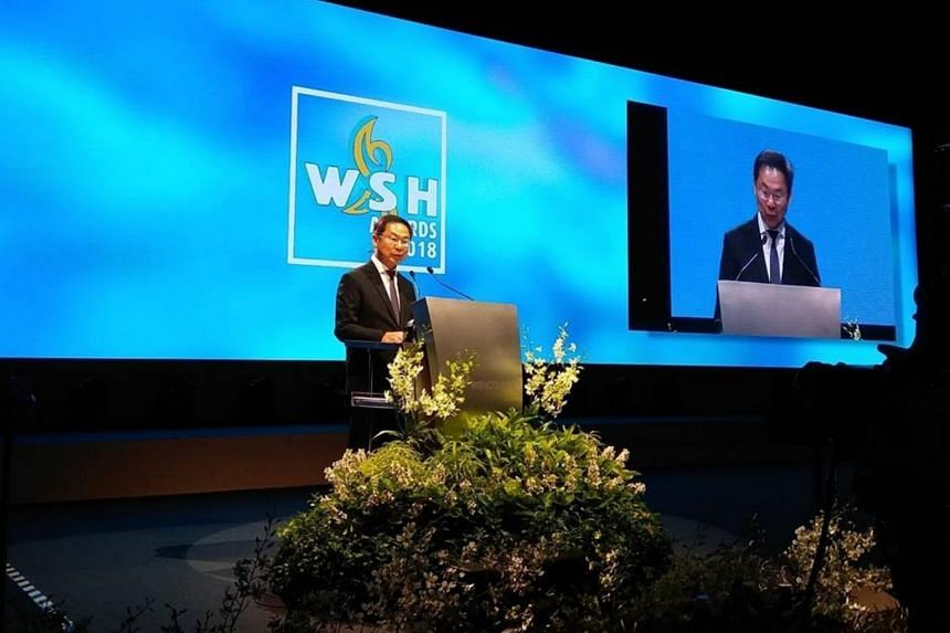 Workplace Safety and Health (WSH) Council chairman John Ng speaks at the WSH awards ceremony on July 31, 2018.