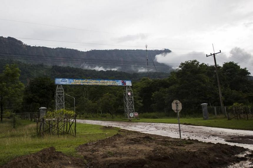 The entrance of Houay Ho Hydropower Plant is seen in Sanamxai in Laos' Attapeu province on July 25, 2018.
